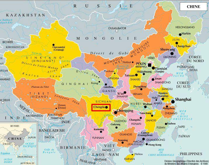 Carte Chine Villes Provinces.Sichuan